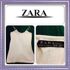 2/$13 Zara Basics Tank Top White. Spaghetti straps. Size Medium. 2 for $13. Zara Tops Tank Tops