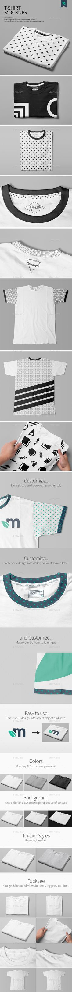 T-Shirt Mockups Studio Edition by MintMockups Professional set of 8 T-Shirt Mockups based on real photos. Amazing and realistic results achieved in seconds. Endless customizati