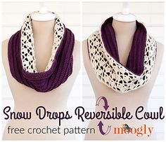 Snowdrops reversible cowl ~ free pattern ᛡ