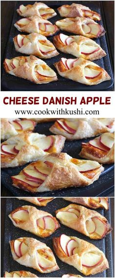 Apple Cheese Danish is an easy to make, delicious snack prepared using just 5 ingredients. This Fall treat can be served both as snack or as breakfast item with coffee/tea, or as an after-meal dessert pastry snacks, Apple Cheese Danish Yummy Snacks, Delicious Desserts, Yummy Food, Apple Recipes, Fall Recipes, Brunch Recipes, Breakfast Recipes, Breakfast Appetizers, Breakfast Casserole