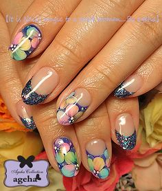 Nails with flowers by ageha