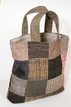 Handmade wool patchwork tote/bag