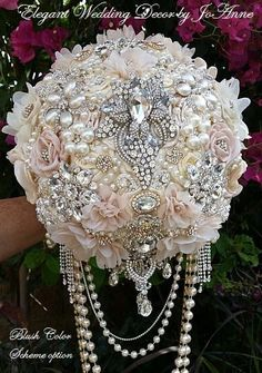 9.5 LG STUNNING CUSTOM JEWEL DRAPED BROOCH BOUQUET - $598.00 (Full Price) - DEPOSIT - $298.00 (To Place your Custom Order) - BALANCE - $300.00 (Payable When your Order is Complete) ** NOTE: Several detailed pictures of your Bouquet will be sent to you prior to the final balance being paid and before shipment of your Order. DETAILS: This Listing is for a Custom-made-to-Order Elegant 10 (Approx 29 in Diameter) Jeweled Draping Brides Brooch Bouquet (Variations in Brooches and Gems if not…