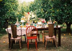 orchard party with vintage hankies and mismatched chairs and table