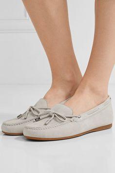 Slight heel Light-gray nubuck Slip on Designer color: Cement