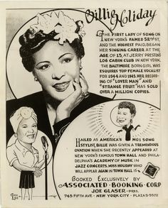"""detroitlib: """" Celebrate Jazz Appreciation Month! (April)  Publicity featuring three drawings of singer Billie Holiday. Printed on front: """"Billie Holiday. The first lady of song on New York's famed 52nd St., and the highest paid, began her singing..."""