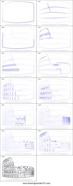 How to Draw The Colosseum step by step printable drawing sheet to print. Learn How to Draw The Colosseum Architecture Drawing Art, Architect Drawing, Architecture Sketchbook, Step By Step Sketches, Sketches Tutorial, Step By Step Drawing, Building Drawing, Building Sketch, Art Drawings Sketches Simple