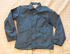 #men Windbreaker jacket size L navy blue nylon fully lined USED in good condition USA withing our EBAY store at  http://stores.ebay.com/esquirestore