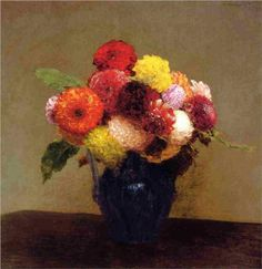 Henri Fantin-Latour Dahlias, Queens Daisies, Roses and Corn Flowers Henri Fantin Latour, Art Floral, Flower Vases, Flower Art, Painting Still Life, Cool Paintings, Oeuvre D'art, Canvas Art Prints, Illustration Art