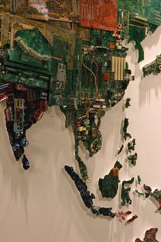 British artist Susan Stockwell has completed a gigantic world map made from recycled computer components.