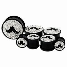 MUSTACHE YOU A QUESTION... ---> Metal Mafia Crystaline Mustache Single Flare Plugs (PSFAMSCZ) @ http://www.tribalectic.com/store/pc/viewPrd.asp?idproduct=26567