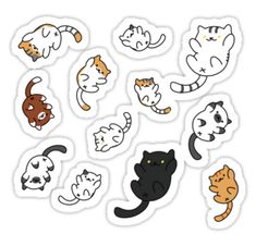 """Neko Atsume Sticker Sheet"" Stickers by pepe-princess Stickers Cool, Stickers Kawaii, Anime Stickers, Tumblr Stickers, Phone Stickers, Journal Stickers, Printable Stickers, Planner Stickers, Emoji Kawaii"