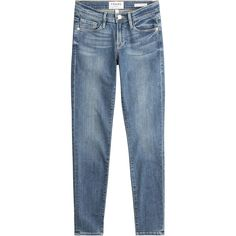 Frame Denim Skinny Jeans ($255) ❤ liked on Polyvore featuring jeans, blue, slim jeans, blue ripped jeans, distressed skinny jeans, destroyed skinny jeans and super skinny jeans