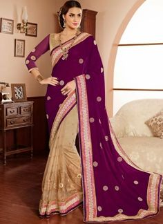 Purple N Cream Net Zari Work Half N Half Party Wear Saree http://www.angelnx.com/Sarees
