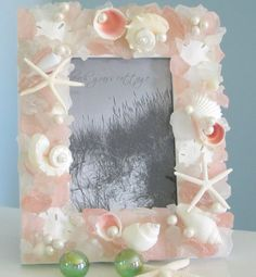 Beach Decor Sea Glass & Seashell Frame - Nautical Shell Frame w Beach Glass, 5x7  Pink. $79.00, via Etsy.