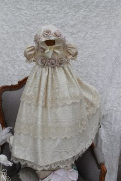 Christening Gown withvintage lace hand dyed with Bonnet//Heirloom victorian baptism gown//ESPERANZA by Elena