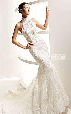 Alluring Halter Tie Waist Simple Lace Satin Court Train Mermaid Wedding  Dress For Brides 2457098c96b70