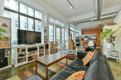 On the Market: A Live-Work Loft for Artists Only Loft, Couch, Living Rooms, Boston, Indie, Magazine, Artists, Furniture, Home Decor