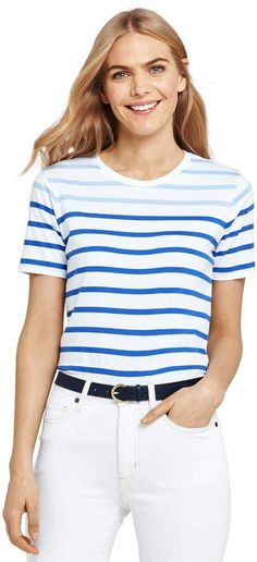 Petite Lands end Women s Stripe Relaxed Short Sleeve Supima Cotton Crewneck  T-shirt in fc9b78fcb