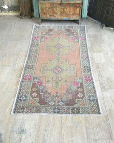 Turkish Rug Handmade Carpet Vintage Small Area Decor Wool Kilim Bohemian 90x50 Cm 35x20 Inches Von Troja