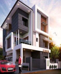 Best Exterior Design Ideas 2019 Modern Bungalow Exterior, Modern House Facades, Modern Bungalow House, Modern Exterior House Designs, Modern Architecture House, Modern House Plans, Exterior Design, Modern Houses, 2 Storey House Design