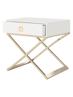 Safavieh Zarina Side Table Zarina Side Table: One-drawer wooden side table Cross brass legs 20 lbs. weight capacity Assembly required Measurements: W x D x H Material: MDF and brass Care: Wipe with a damp cloth Brand: Safavieh Small Dream Homes, Gold Office Supplies, Bedroom Furniture, Bedroom Decor, Serene Bedroom, Wooden Side Table, Transitional House, Repurposed Furniture, Girl Room
