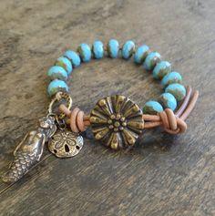 Surf and Sand, Mermaid- Sand Dollar Bracelet, Surfer Chic. $30.00, via Etsy.