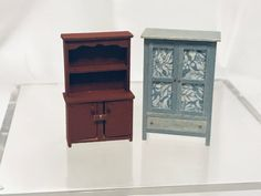 hand made in wood by Bea 148 Dollshouse miniature kitchen cabinet with clock bench