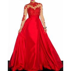 $25.03 Noble Ruffled Collar Long Sleeve See-Through Lace Splicing Women's Prom Dress