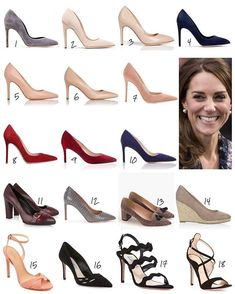 A recap of The Duchess of Cambridge's new pumps/heels debuted this year. 1: Rupert Sanderson 'Winona' pumps (£295/$360US) 2: Rupert Sanderson 'Calice' pumps - out of stock 3: Rupert Sanderson 'Malory' pumps in nude (£425/$520US) 4: Rupert Sanderson 'Malory' pumps in navy (£425/$520US) 5: LK Bennett 'Fern' trench leather pumps (£195/$240US) 6: LK Bennett 'Floret' trench leather courts (£175/$214US) 7: Gianvito Rossi 'Gianvito 105' praline suede pumps (£550/$675US) 8: Gianvito Rossi…