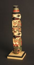 18 Inch Potlatch Totem Pole,carved from red cedar by Larry Rudick.  The figures are from the top an Eagle, Chief, Raven and Frog.  This pole is painted in the traditional colors used by the Northwest Coast tribes.  The hat on the top is a sign of strength and was used in a Potlatch or celebration. Totem Poles, Red Cedar, Totems, Native Art, Pacific Northwest, North West, Larry, Raven, Native American