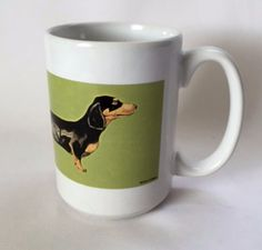 Dachshund Mug Long Dog Breed Galligan Art Green Large 12 oz Coffee Cup