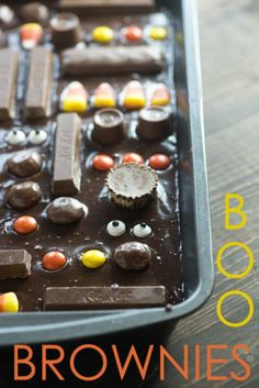 These brownies are a perfect way to use leftover Halloween candy!