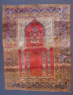 antique heriz silk prayer rug Iran, late 19th century. 155 x 124 cm / 5'2''x 4'1'' I Christopher & Angela Legge Oriental Carpets, Oxford