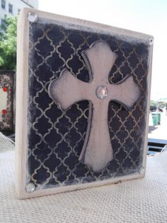 decorative wooden crosses | Navy Cream Wood Layered Stacked Decorative Cross Block Distressed ...