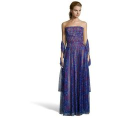 Tadashi Shoji Mystic blue floral pleated tulle strapless evening gown ($373) ❤ liked on Polyvore featuring dresses, gowns, mystic blue, blue gown, beaded gown, long white evening dress, white evening dresses and white strapless dress