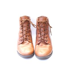 size 10 vintage brown leather ankle BUCKLE boots by santokivintage, $59.00