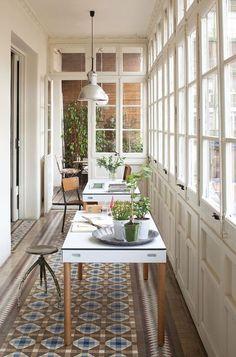 love this sun porch as an office!