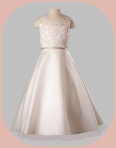Ivory Organza, Lace, Pearls & Sequins Girls First Holy Communion Dress