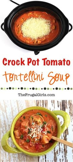 Crockpot Tomato Tortellini Soup Recipe! ~ from TheFrugalGirls.com ~ this is the perfect, delicious gourmet soup for a chilly night's dinner, and it is so EASY to make, too! Go grab your Crock Pot!!