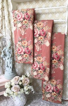 Vintage 1930s Puritan Bark Cloth Curtain Panel, Shabby French Pink English Rose Floral lined drapery panels,  Cabbage Rose Fabric,SCT