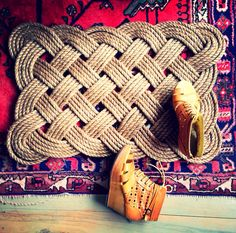 Large knotted rope doormat by Nannestad & Sons Doormat, Straw Bag, Sons, Graphic Design, Interior, Indoor, My Son, Visual Communication, Interiors