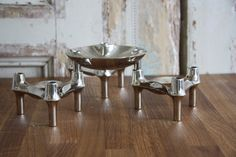Set of 3 brutalist candleholders and bowl from West German manufacturer BMF.
