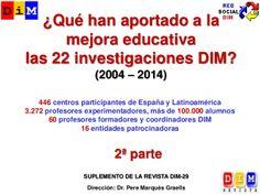 Resultados-2 de las 22 investigaciones DIM (2ª parte): De aulas 2.0 y libro digital a tabletas y curriculum bimodal   by Pere Marquès via slideshare