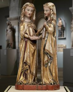 Master Heinrich of Constance (German, active in Constance, ca. 1300). The Visitation, ca. 1310–20. Walnut, paint, gilding, rock-crystal cabochons inset in gilt-silver mounts. The Metropolitan Museum of Art, New York