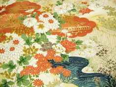 Rare Yuzen floral garden scene Vintage Japanese by CosimaOrimono