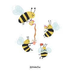 Bee Happy, Drinking Tea, Tweety, No Worries, Snoopy, Graphic Design, Illustration, Fictional Characters, Art
