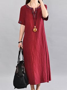 Buy Casual Dress For Women at JustFashionNow. Online Shopping JustFashionNow Burgundy Women Casual Dress V neck A-line Daily Dress Half Sleeve Vintage Cotton Embroidered Plain Dress, The Best Daily Casual Dress. Discover unique designers fashion at JustFa Half Sleeve Dresses, Half Sleeves, Short Beach Dresses, Summer Dresses, Casual Dresses For Women, Clothes For Women, Ladies Dresses, Simple Dresses, Vestido Casual