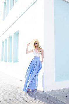 Skirt: MDS Stripes   Top: Topshop   Hat: Eugenia Kim   Shoes: Chelsea Paris   Sunglasses: Prada