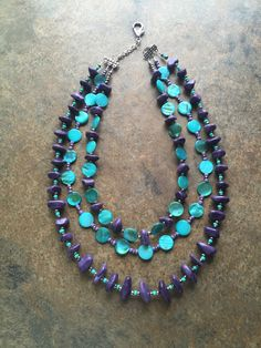 Lepidolite and mother of pearl statement necklace by AJBcreations